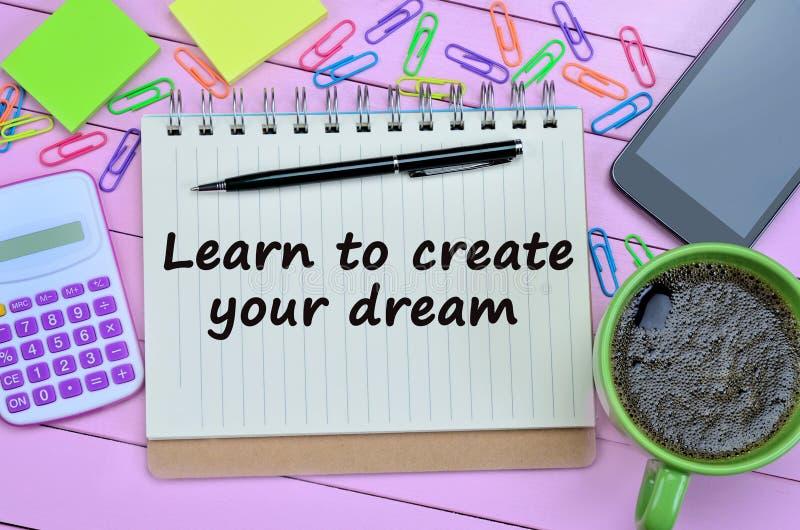 Text lernen, Ihren Traum zu schaffen stockfotos