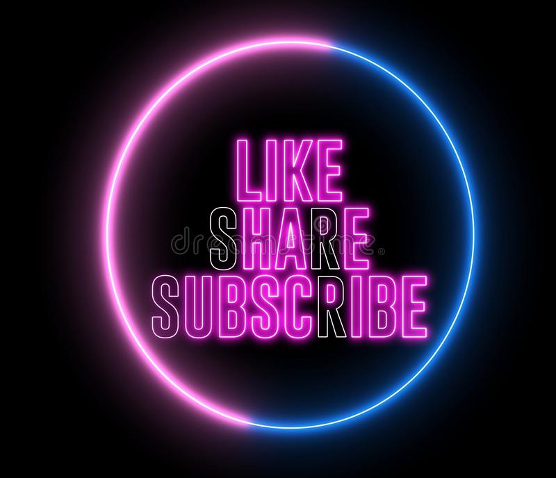 Text of `LIKE, SHARE, SUBSCRIBE` inside neon colorful circle. Social media animation stock illustration