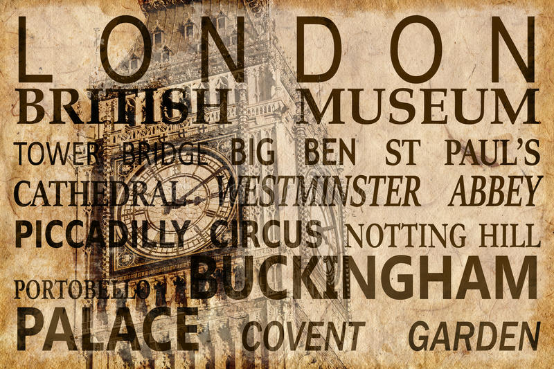 Text with London landmarks on Big Ben vintage background royalty free stock images