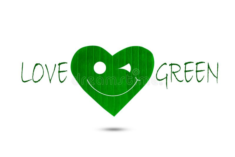 Text love green with green smiling heart shaped leaf on white background vector illustration