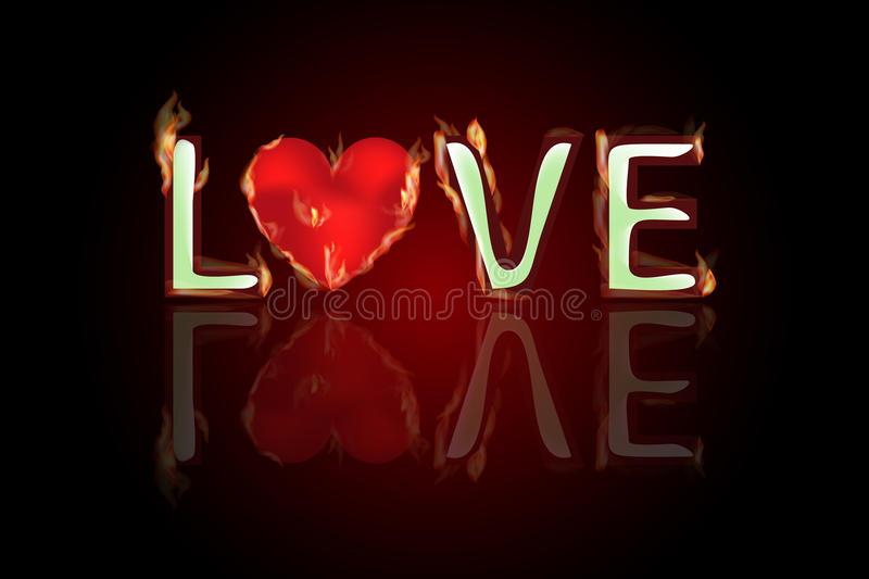 Text love heart in fire reflected. Valentine s Day stock illustration