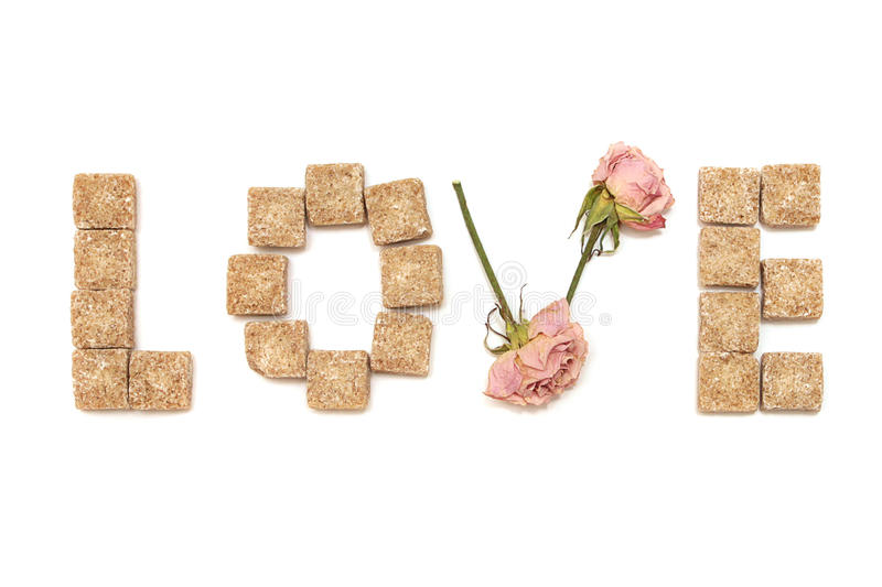 Text Love Of Rose And Sugar. Series: Sweet, Dream Royalty Free Stock Photos