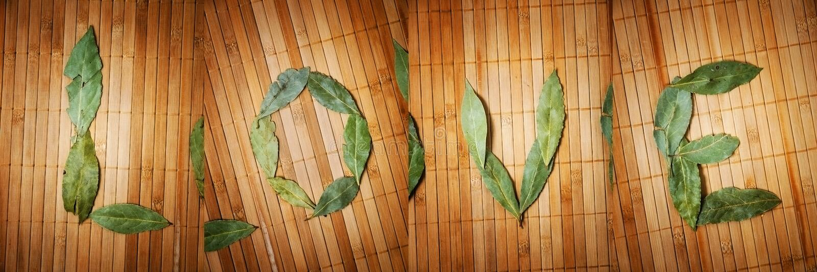 Text love written with leaves