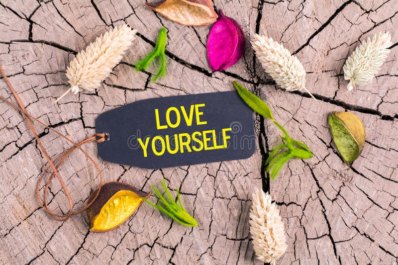 The text love yourself in tag. The text love yourself in black tag on cracked tree stump with dried color flowers royalty free stock photography