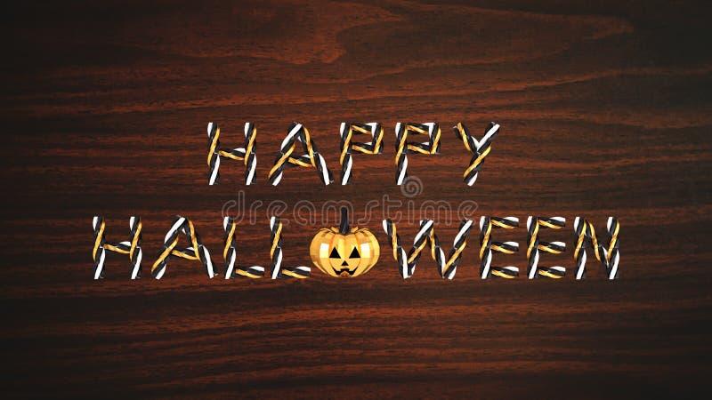 Text lyckliga halloween och en pumpa på träillustration för bakgrund 3D stock illustrationer