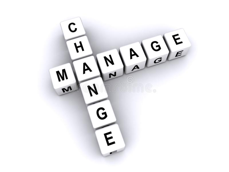 Manage change. Text 'manage change' in black uppercase letters inscribed on small white cubes and arranged crossword style with common letter 'a', white stock illustration