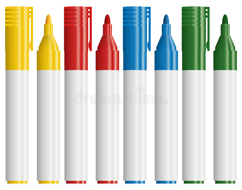 text markers in different colors vector illustration