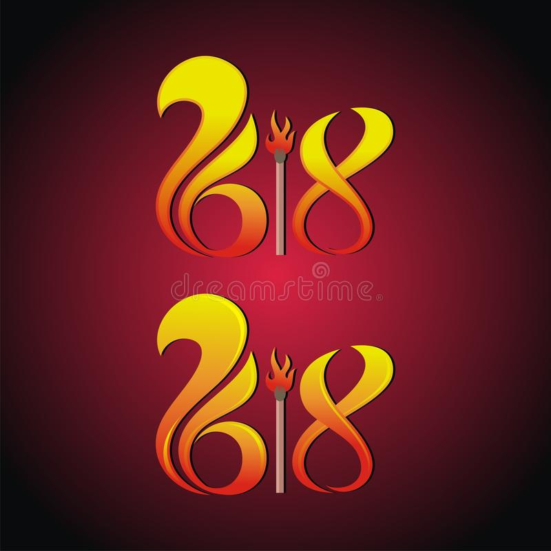 2018 text Matches and Fire Design royalty free stock photos