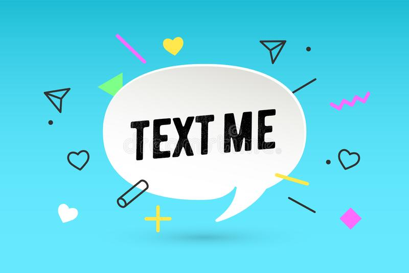 Text me. Paper bubble cloud talk and message Text M vector illustration
