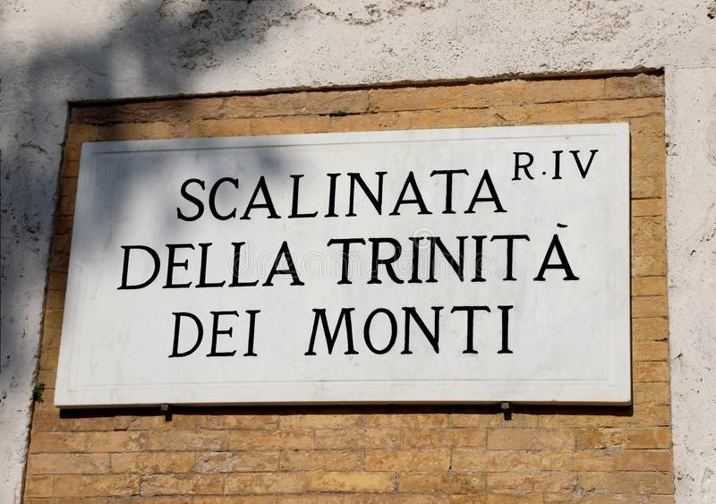Text means Stairway of the Trinità dei Monti in Italian Languag stock image