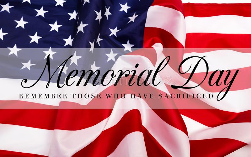 Text Memorial Day on American flag background stock photography