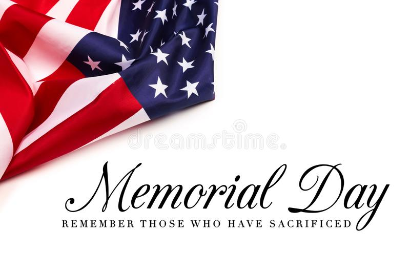 Text Memorial Day on American flag background. Image stock images