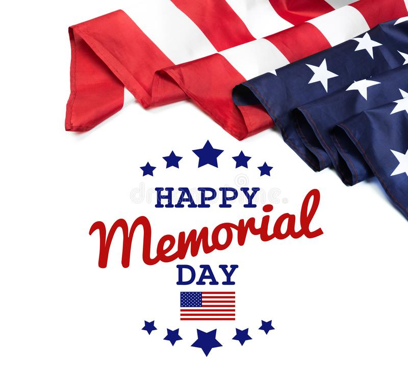 Text Memorial Day on American flag background. Image stock image