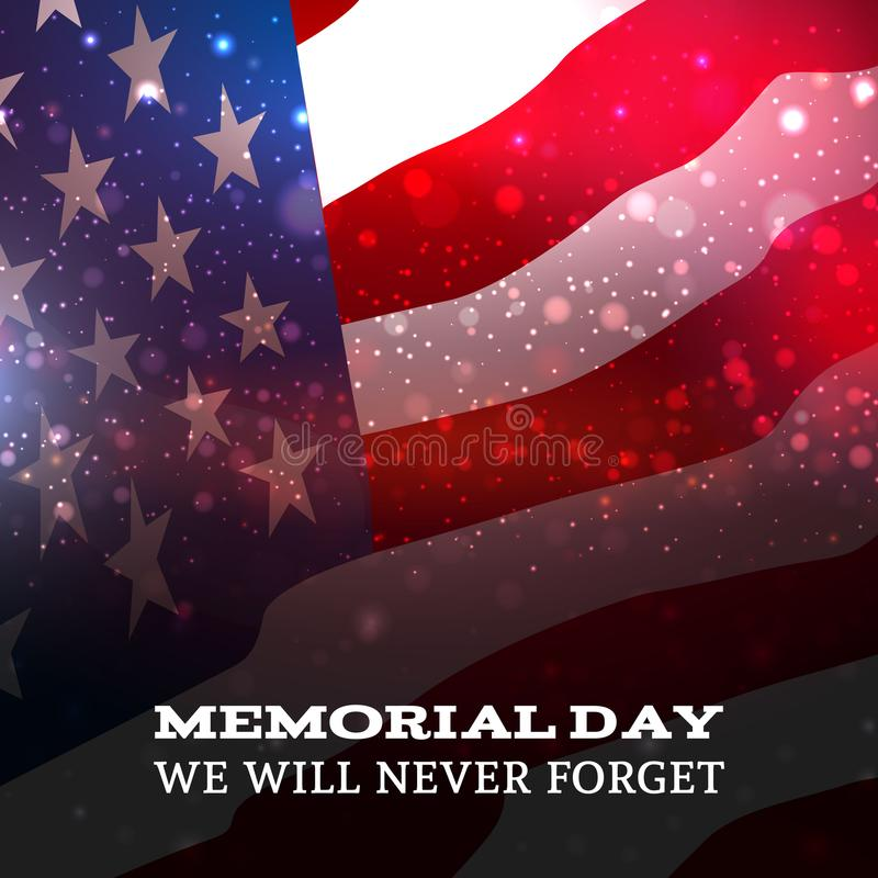 Text Memorial Day on American flag background vector illustration