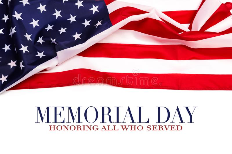 Text Memorial Day on American flag background. Image stock photo