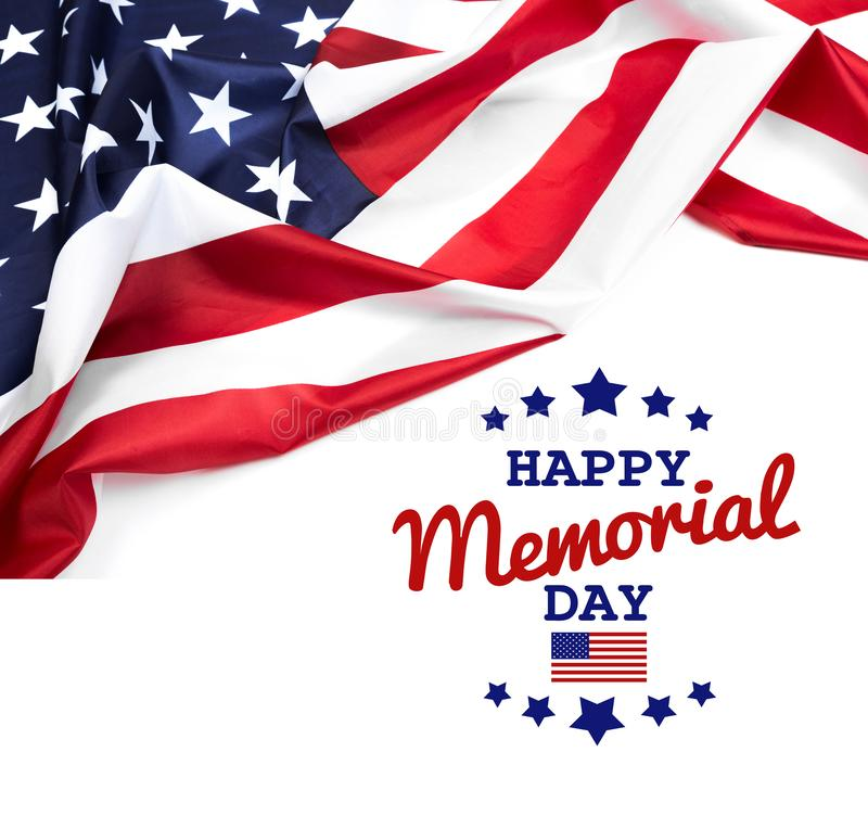 Text Memorial Day on American flag background. Image stock photos