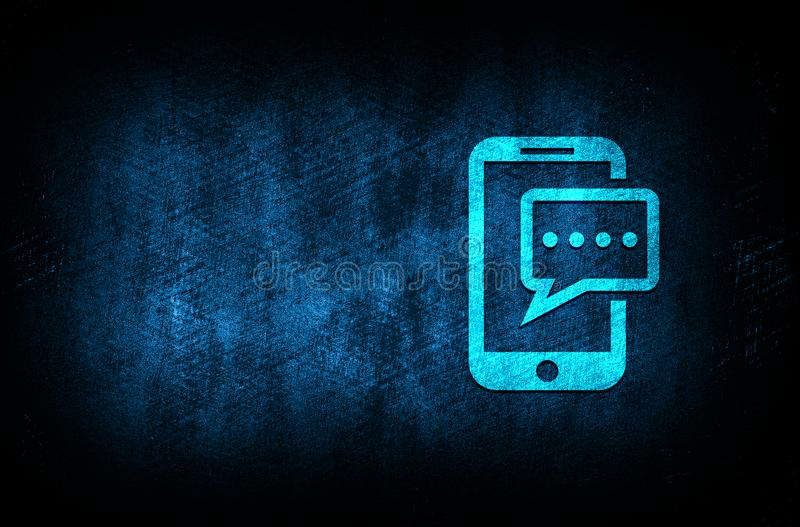 Text message phone icon abstract blue background illustration digital texture design concept. Text message phone icon abstract blue background illustration dark stock illustration