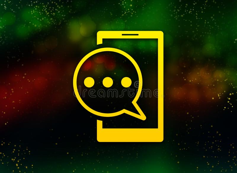 Text message phone icon abstract bokeh dark background stock illustration
