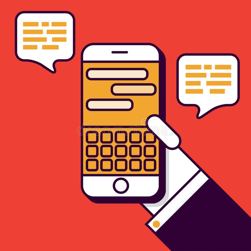 Text Messaging with Smart Phone Illustration in Flat Linear Vector Style stock illustration