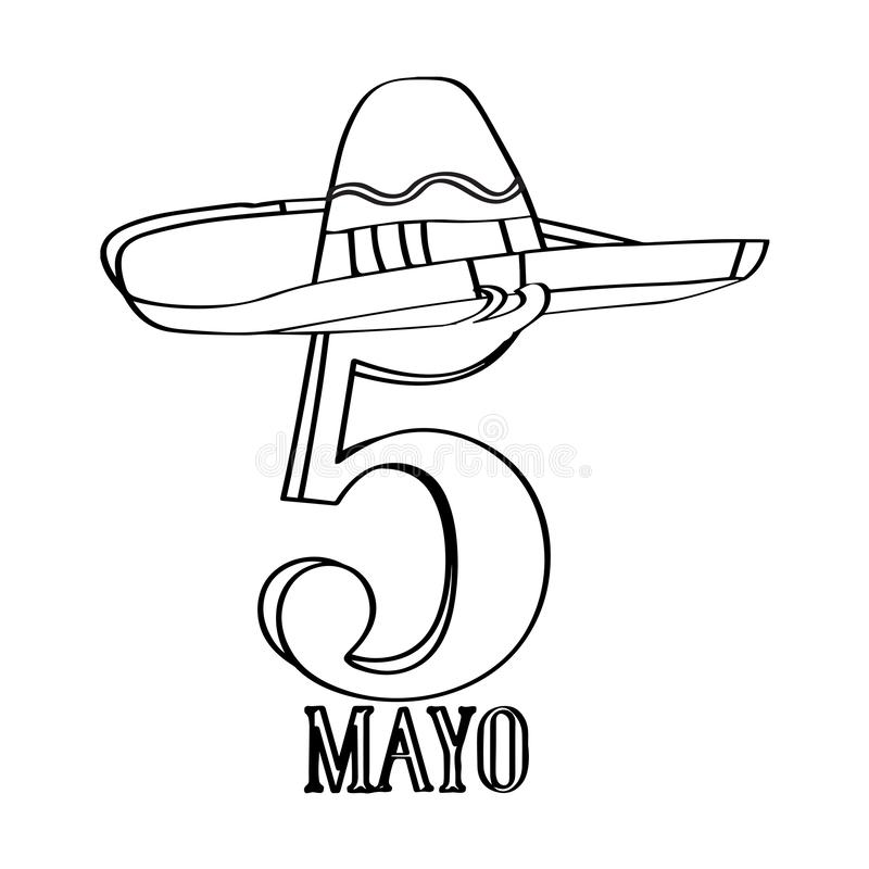 Text with a mexican hat. Cinco de mayo. Vector illustration design royalty free illustration
