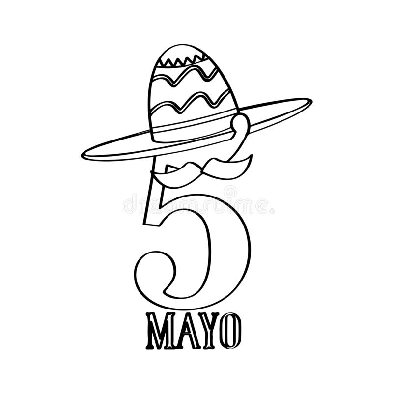 Text with a mexican hat. Cinco de mayo. Vector illustration design vector illustration