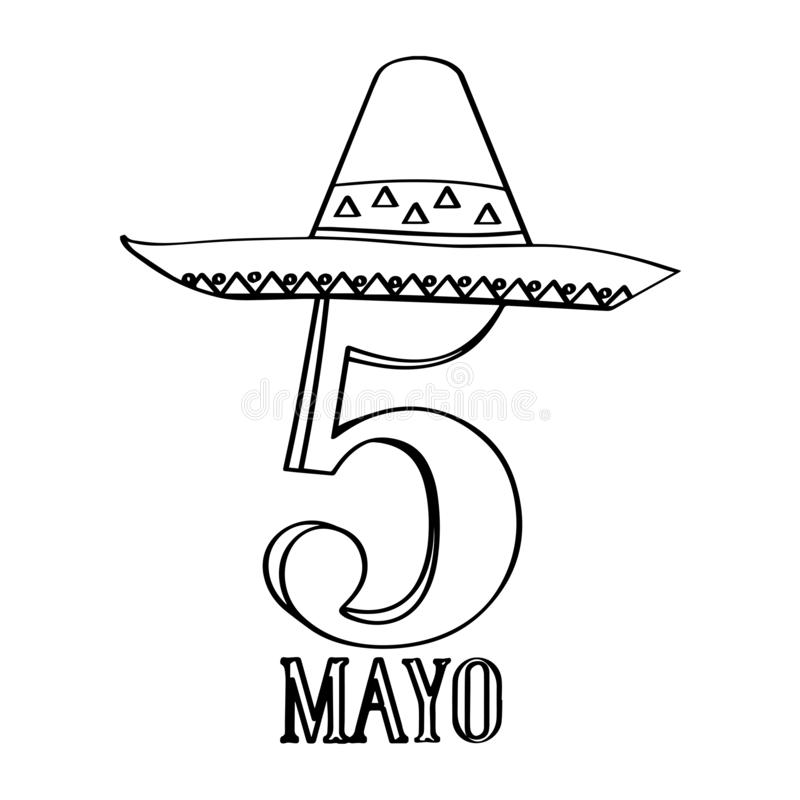 Text with a mexican hat. Cinco de mayo. Vector illustration design stock illustration