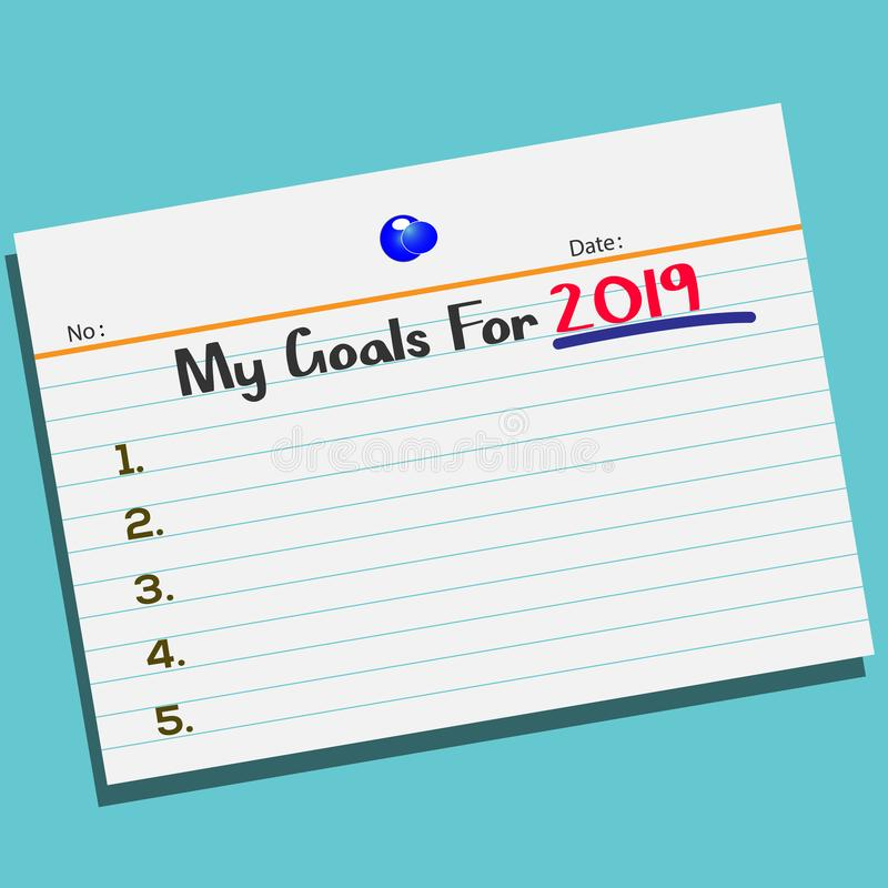 Text My Goals For 2019 on paper with creative design for your greetings card vector illustration