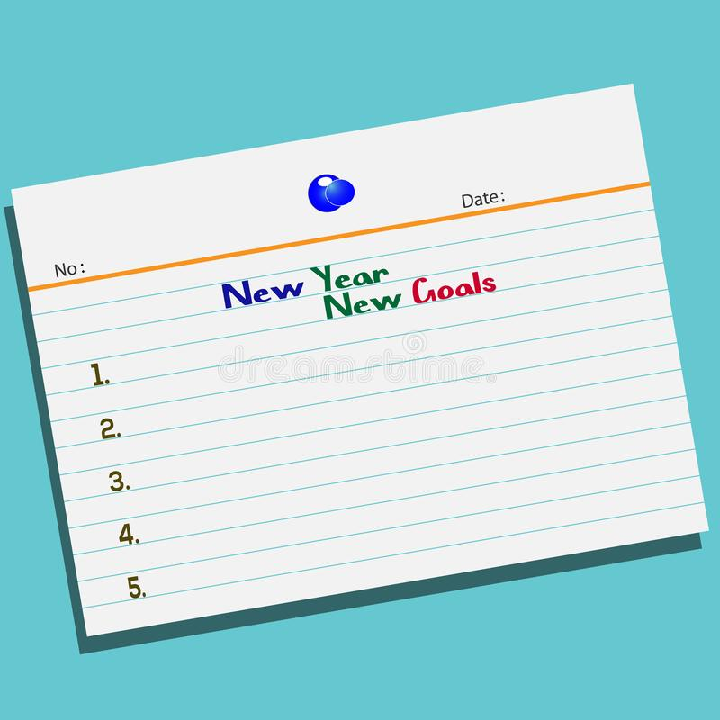 Text New Year New Goals on paper with creative design for your greetings card vector illustration