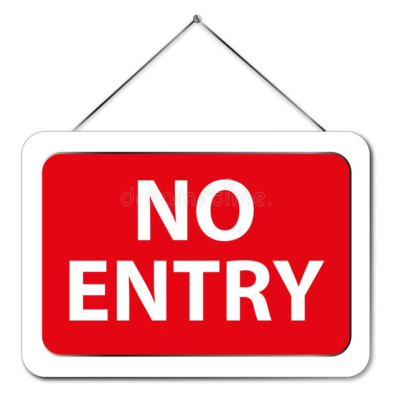 No entry. Text 'no entry' in white uppercase letters on red in a white frame hung by string from a nail in the white wall vector illustration