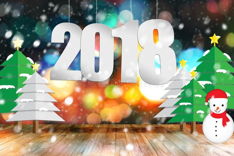 2018 text number hanging above empty wood table with christmas tree, snow man and snowfall. royalty free stock photos