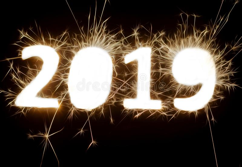 Numbers of the year 2019 made with flares stock illustration