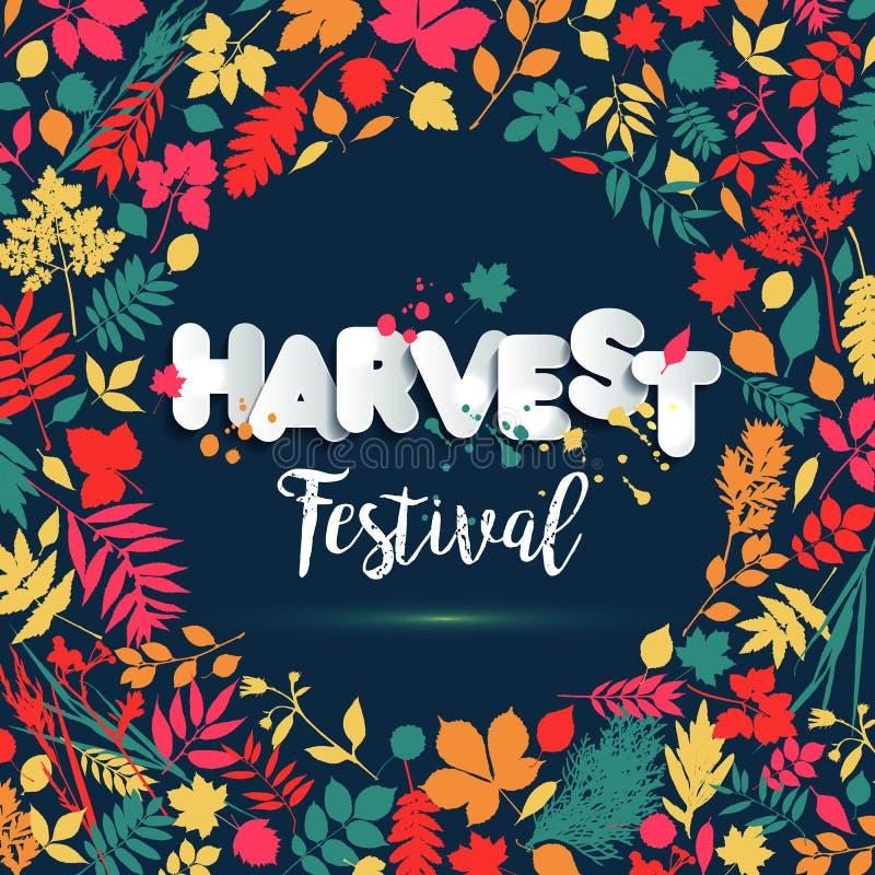 Text o festival da colheita no estilo de papel no fundo multicolorido com folhas de outono O grunge tirado mão borra elementos Es ilustração stock