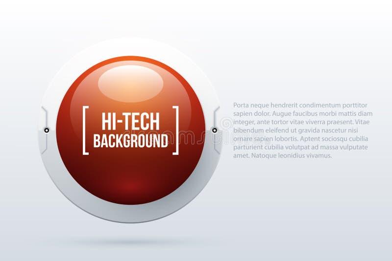 Text o fundo com a esfera 3d vermelha no estilo da olá!-tecnologia ilustração royalty free