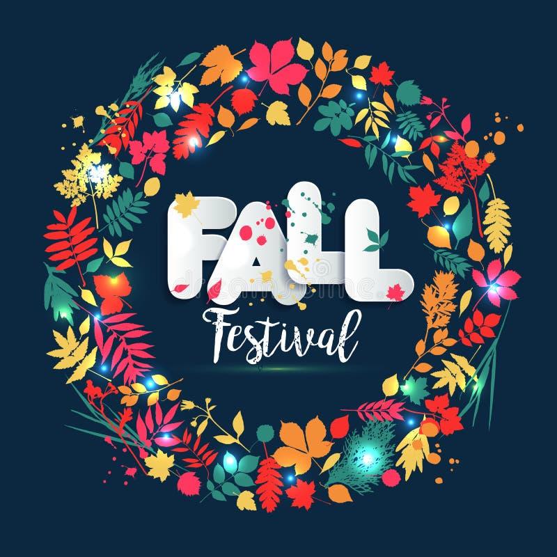 Text o outono no estilo de papel no fundo multicolorido com folhas de outono O grunge tirado mão borra elementos Estilo da queda  ilustração stock
