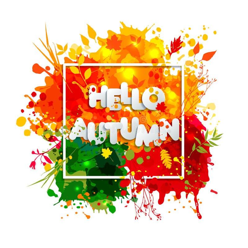 Text o outono no estilo de papel no fundo multicolorido das manchas ilustração stock