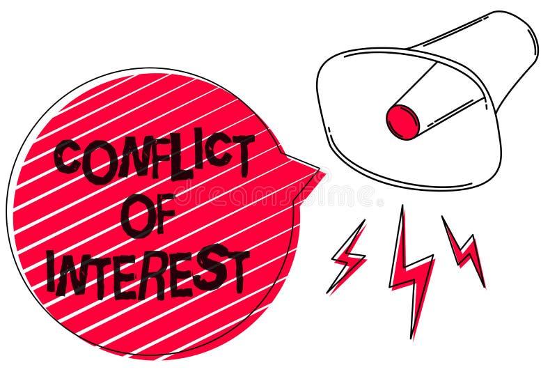 Text o sinal que mostra a conflito de interesses a foto conceptual que discorda com o alguém sobre objetivos ou arte finala do es ilustração do vetor