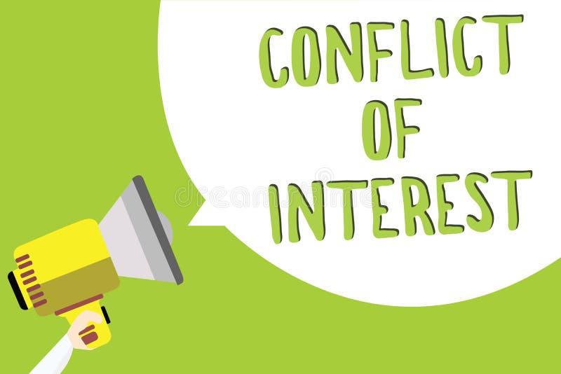 Text o sinal que mostra a conflito de interesses a foto conceptual que discorda com o alguém sobre objetivos ou a identificação d ilustração stock