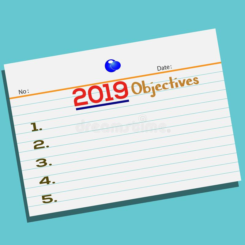 Text 2019 Objectives on paper with creative design for your greetings card royalty free illustration