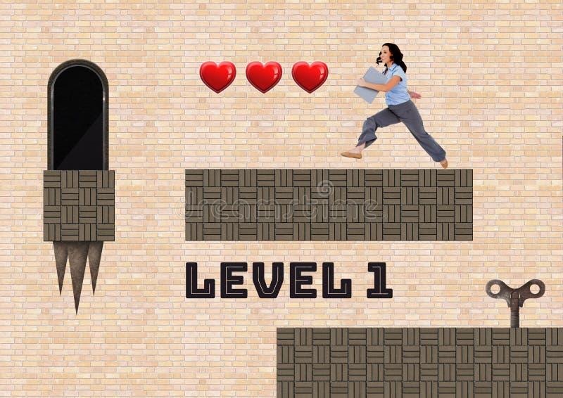 Text och kvinnan för nivå 1 i dataspelnivå med hjärtor stämmer och fällor vektor illustrationer