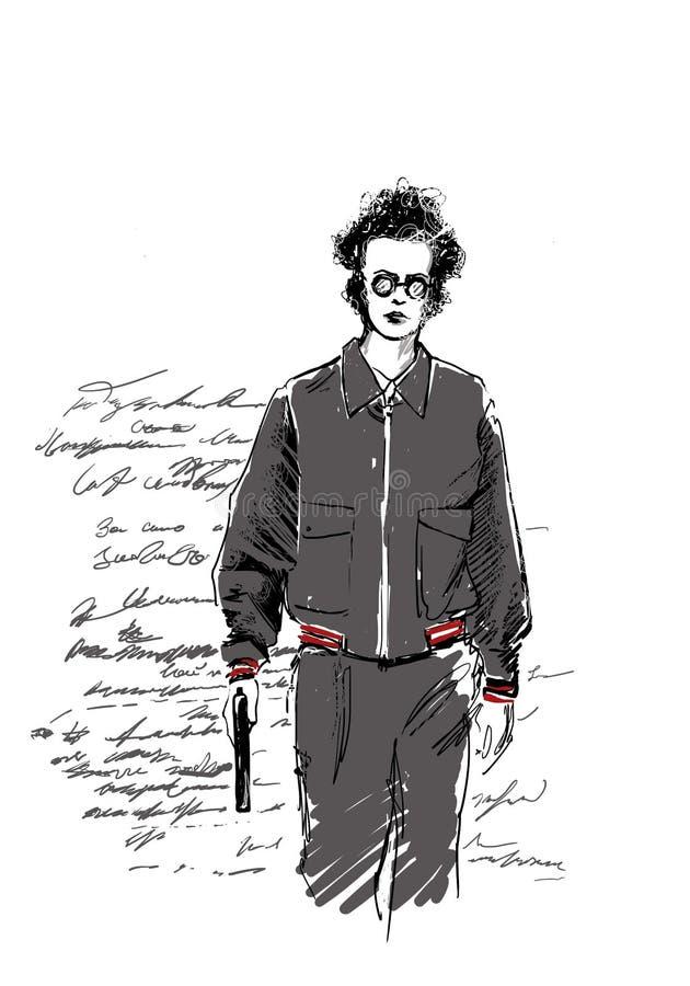 Text och teckning av flickan Man och vapen fotografering för bildbyråer