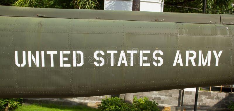 Text on an old Vietnam war Airplane displayed in Saigon. (Vietnam royalty free stock photo