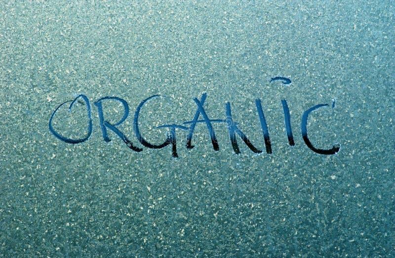 Text organisch auf einem Frost lizenzfreies stockbild