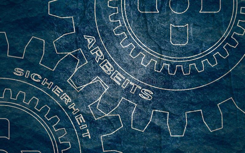 Text p? kugghjulen arkivbilder