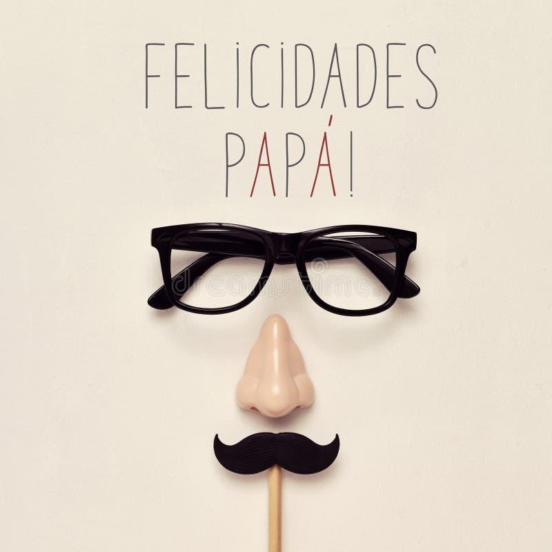 Text a papá dos felicidades, paizinho dos congrats no espanhol fotografia de stock royalty free