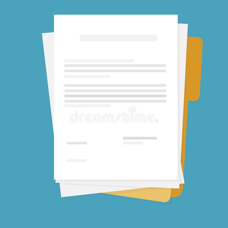 Text paper and folder stock illustration