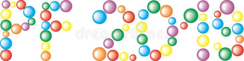Text PF 2019 das bolas coloridas isoladas no fundo branco ilustração do vetor