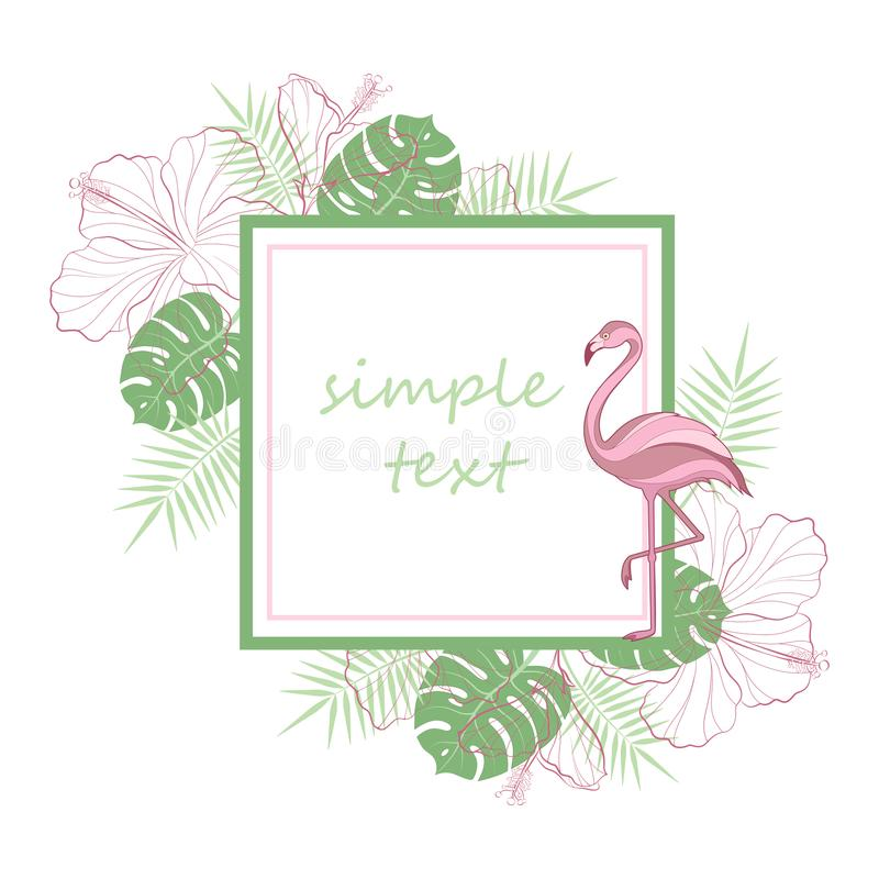 Text placeholder. Exotic tropical jungle rain forest bright green palm tree, pink flamingo birds, hibiscus and plumeria flowers fr stock illustration