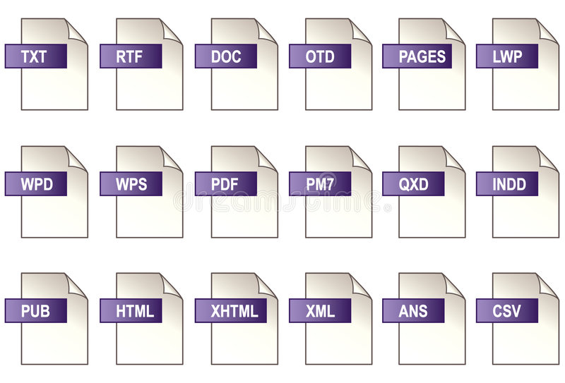 Text, Publishing Icons. 18 icons of popular computer word processing, desktop publishing and web page file formats: Microsoft Word, Microsoft Works, Appleworks royalty free illustration