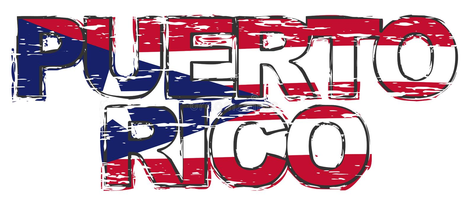 Text PUERTO RICO with national flag under it, distressed grunge look.  vector illustration