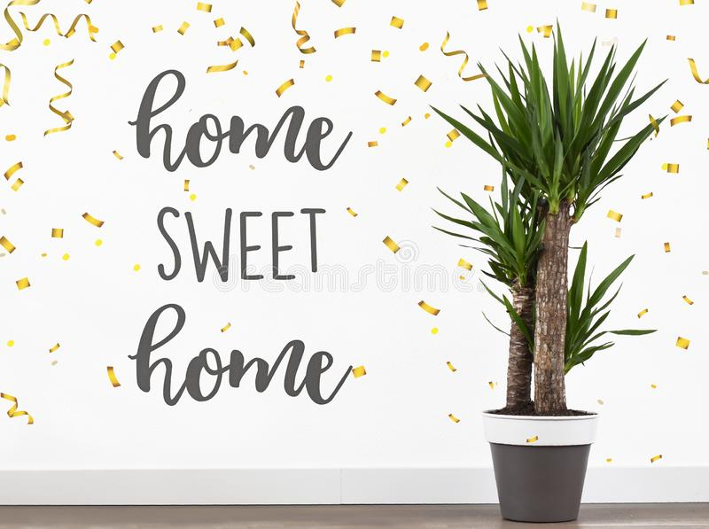 Text quote home sweet home. In new house welcome back royalty free stock photography